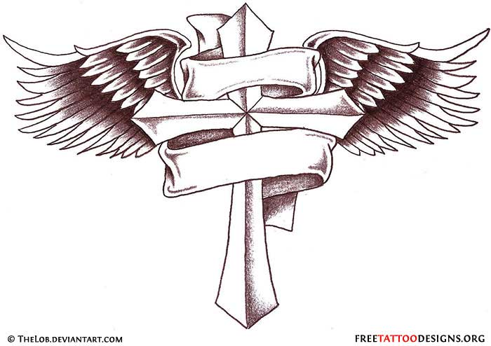 Winged Cross With Crown Tattoo Design