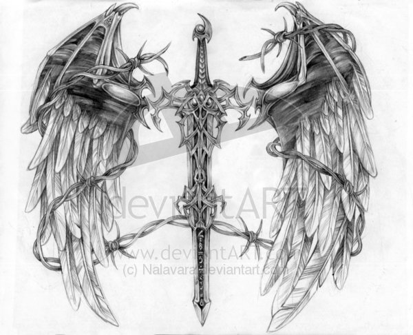 Winged Dragon And Sword Tattoos Drawing