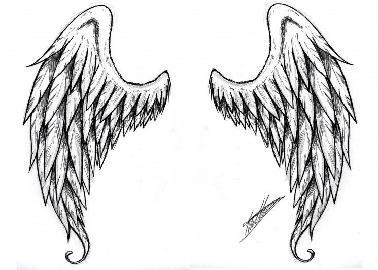 Winged Heart Tattoo Design Over Black Background