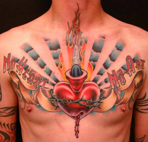 Winged Heart With Crown Tattoo On Chest