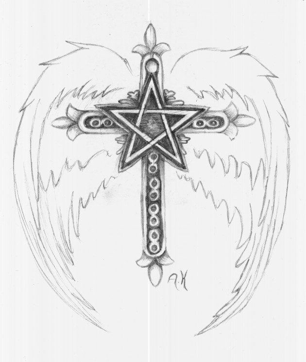 Winged Pentagram And Snake Tattoo Designs