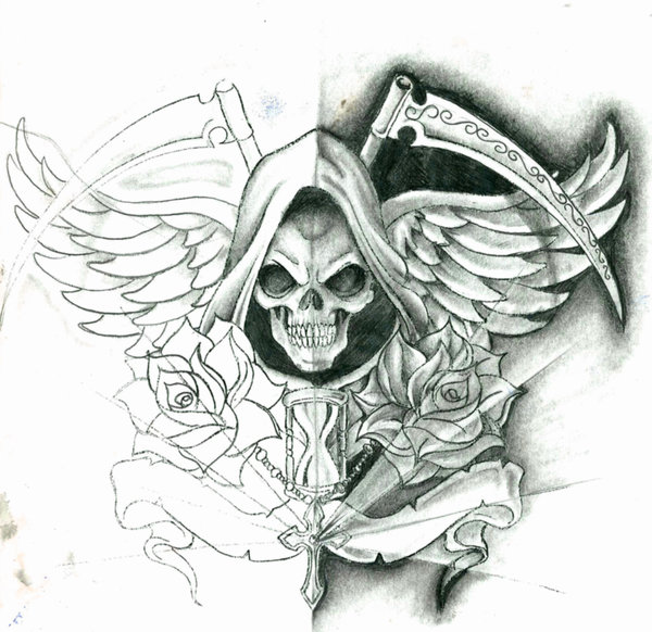 Winged Skull Tattoo Sample