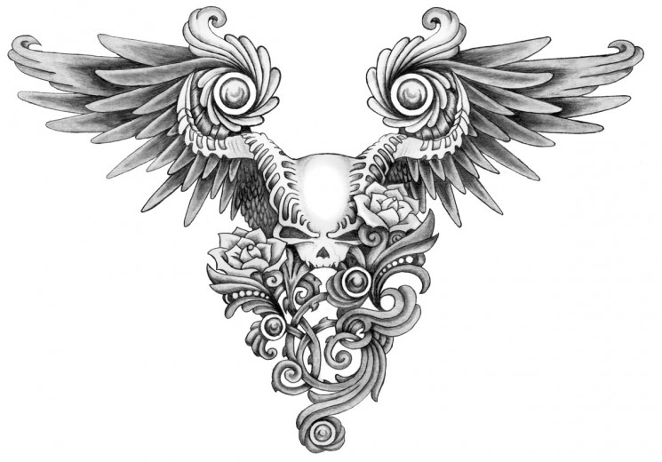 Winged Skulls And Sword Tattoo Designs