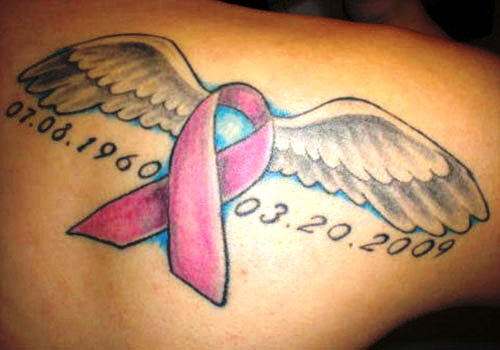 Wings Cancer Ribbon Memorial Tattoo On Back