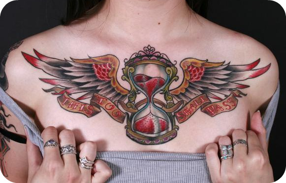 Wings Chest Piece Tattoo For Women