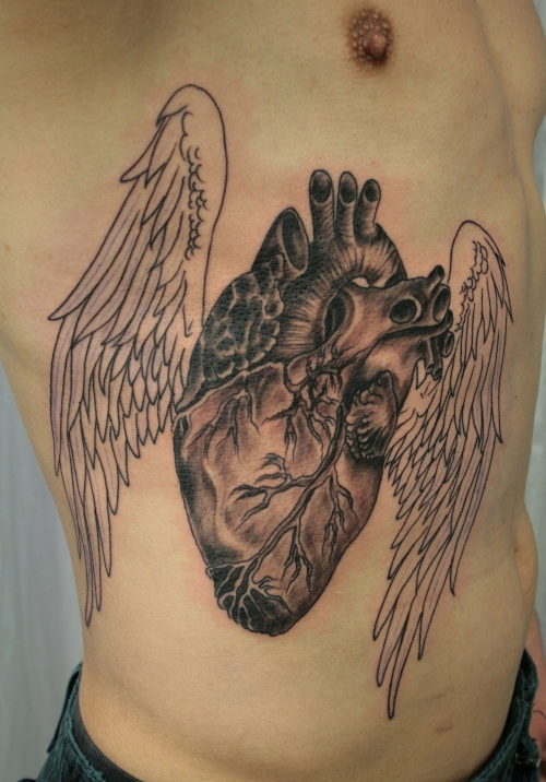 Wings Heart Chest Piece Tattoo For Girls