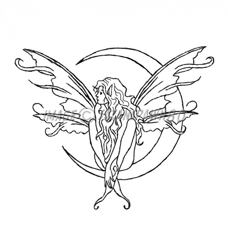 Without Color Fairy Moon Tattoo Stencil