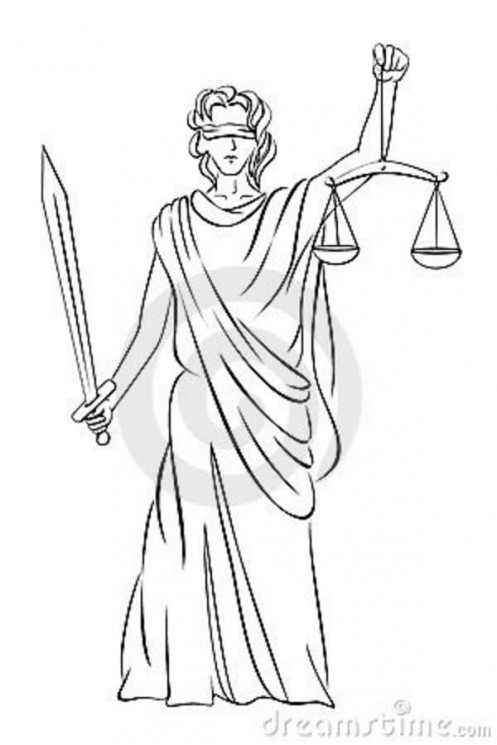 Without Color Lady Justice Tattoo Design