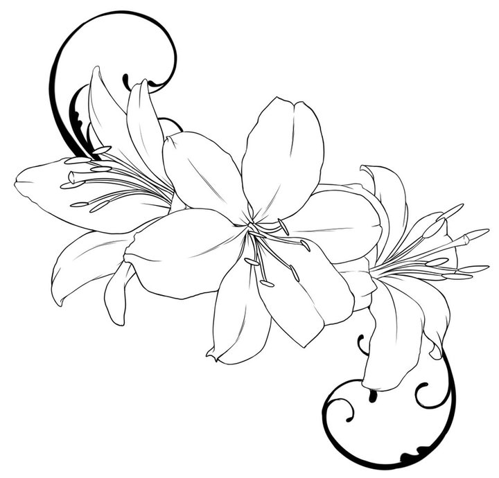 Without Color Lilies Tattoo Sample