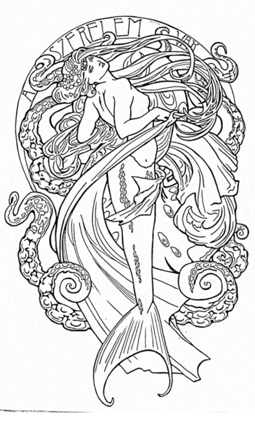 Without Color Mermaid Tattoo Sample