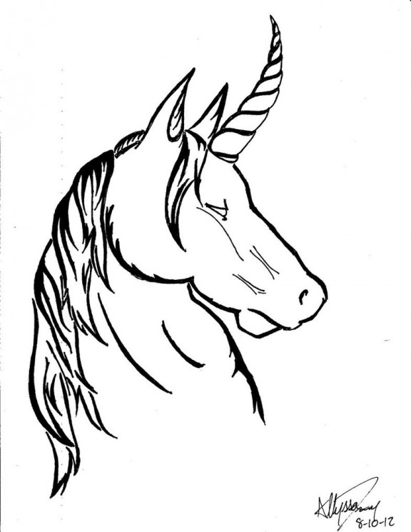 Without Color Unicorn Tattoo Design