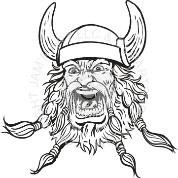 Without Color Viking Head Tattoo Sample