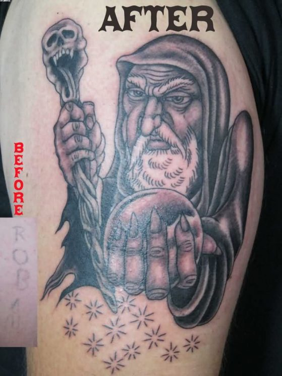 Wizard Castle Wolf Tattoo On Right Biceps
