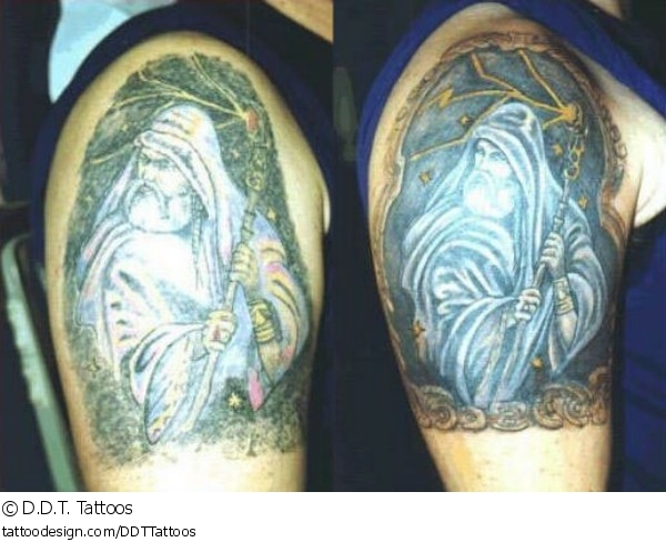 Wizard With Crystal Ball Tattoo On Back Shoulder