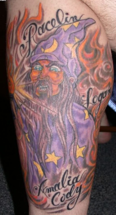 Wizard With Red Eyes Tattoo On Arm