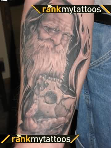 Wizard With Skull Tattoo