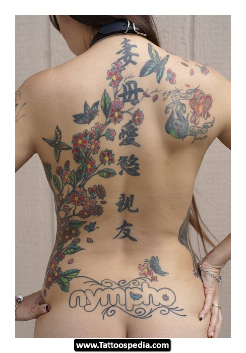 Wolf And Roses Tattoos On Upper Back