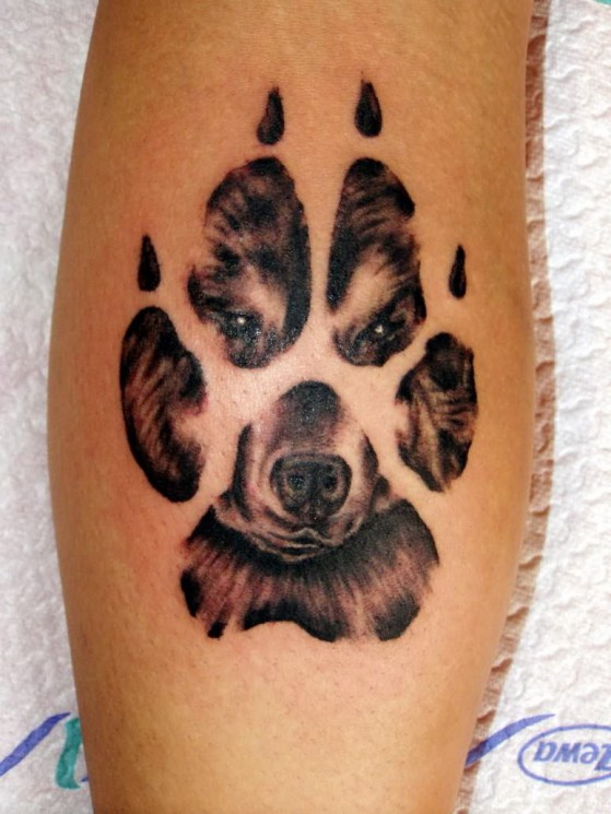 Wolf Face In Paw Print Tattoo Design