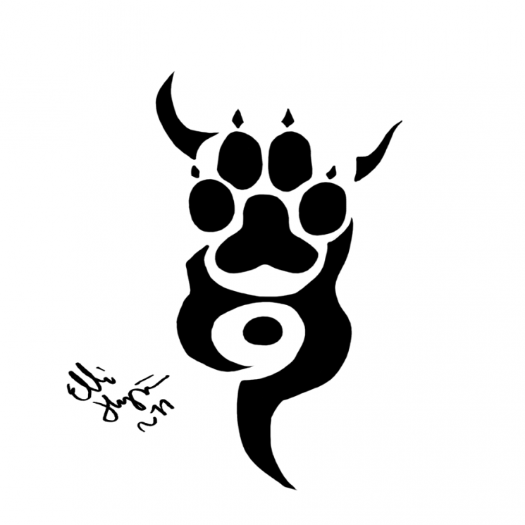 Wolf Paw Tribal Tattoo Poster