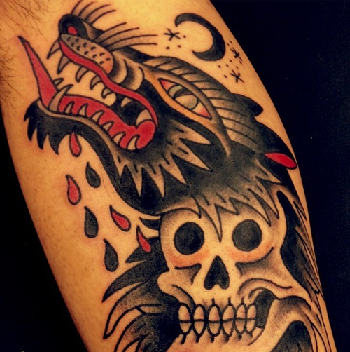 Wolf With The Ted Tongue Traditional Tattoo