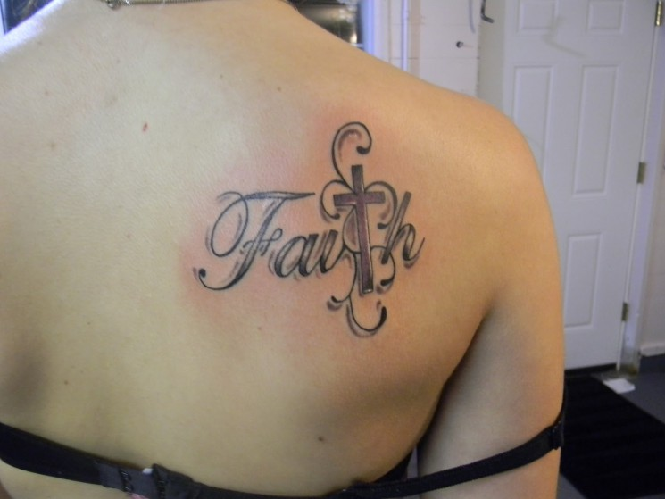 Wonderful Ambigram Faith Tattoo On Back