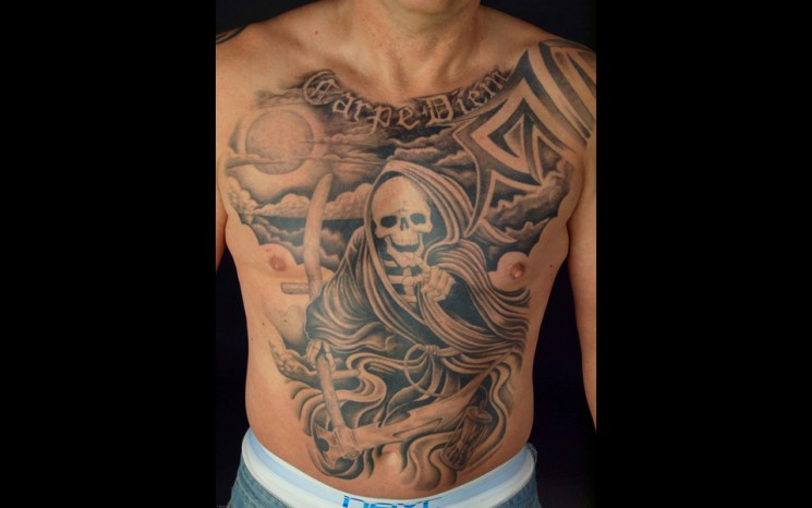 Wonderful Carpe Diem Words Tattoo On Chest
