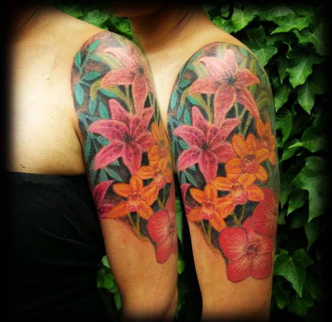 Wonderful Clock And Rose Tattoos For Your Half Sleeve