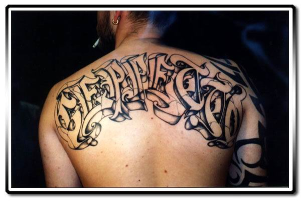 Wonderful Graffiti Tattoo Design On Back