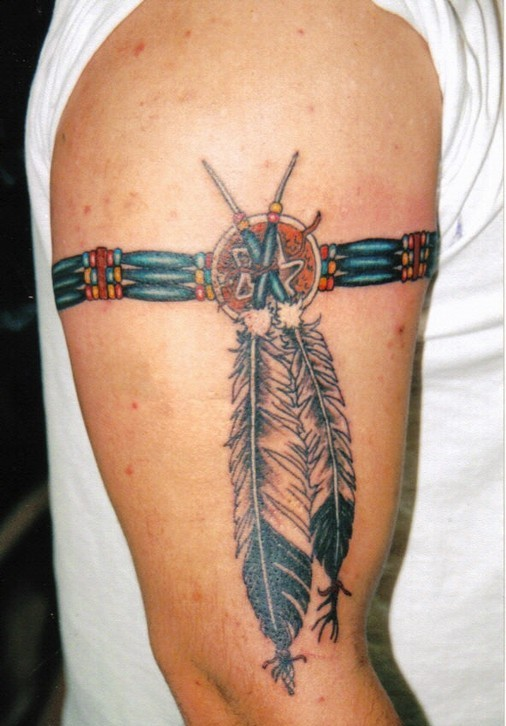 Wonderful Native American Armband Tattoo On Biceps