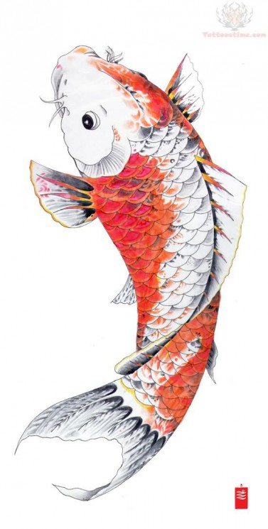 Wonderful Orange Koi Fish Tattoo Design