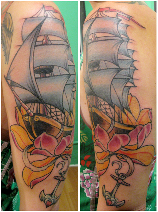 Wonderful Pirate Ship And Flowers Tattoos