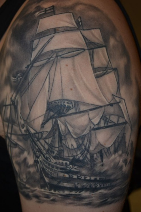 Wonderful Ship Tattoo On Arm