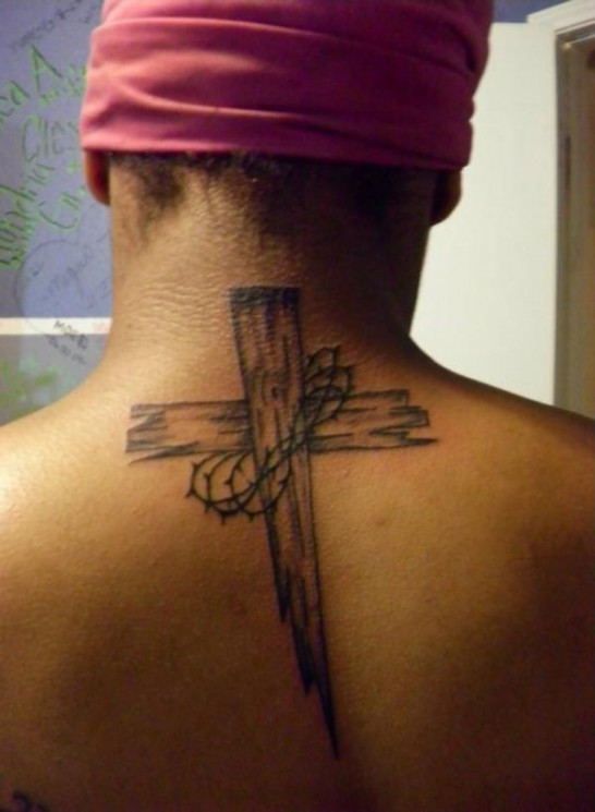 Wooden Cross With Banner Tattoo On Back