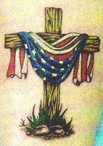 Wooden Cross n American Flag Tattoo Design