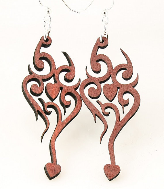 Wooden Earrings And Rose Neck Tattoos