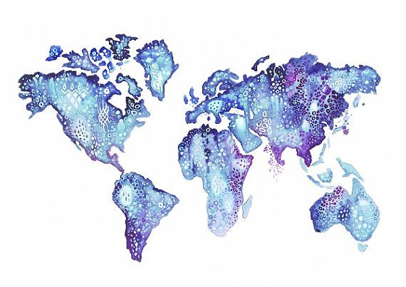 World map watercolor tattoo print photo 2 2017 real photo world map watercolor tattoo print photo 2 gumiabroncs Gallery