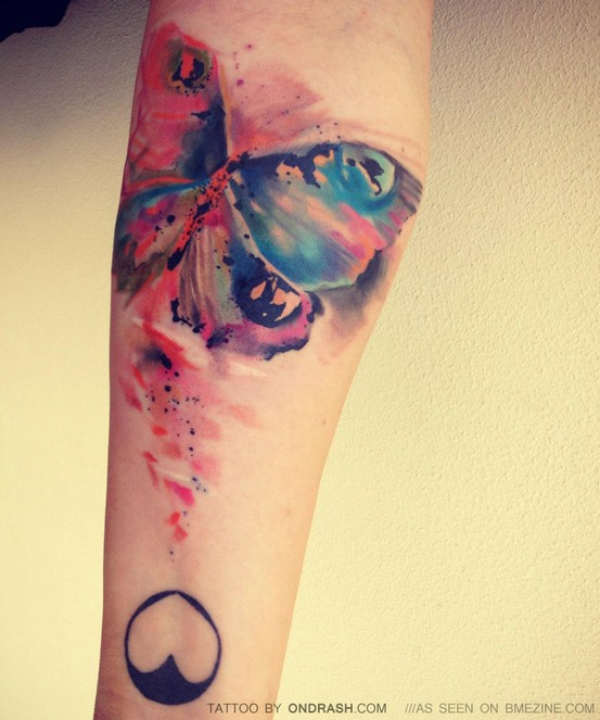 Yellow And Blue Watercolor Tattoo On Foot