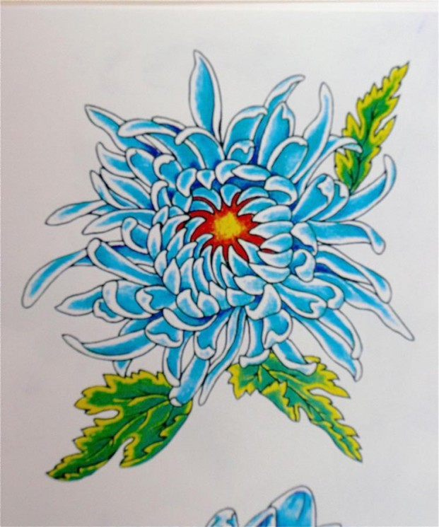 Red & Yellow Chrysanthemum Tattoo Designs