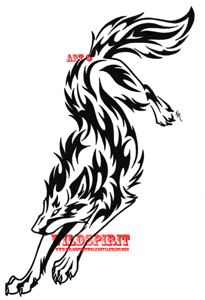 Yin Yang Tiger And Wolf Tribal Tattoo Design