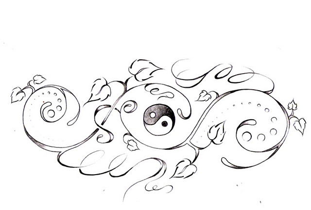Ying Yang Butterfly Tattoo Design