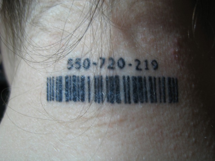 Young Girl Has A Barcode Neck Tattoo