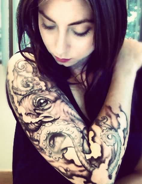 Young Girl Tattoo On Sleeve