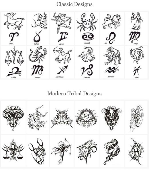 Zodiac Signs Tattoo Designs