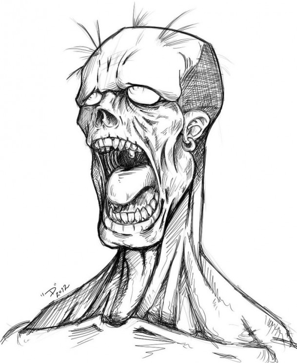 Zombie Face Tattoo Sketch