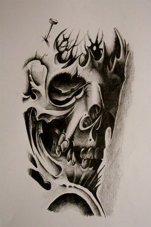 Zombie Girl Spider Web And Skull Tattoo Design