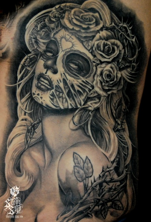 Zombie Pin Up Cute Tattoo On Thigh