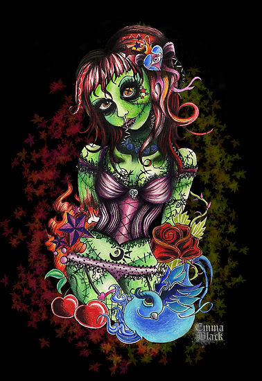 Zombie Pin Up Girl In Graveyard Tattoo Design
