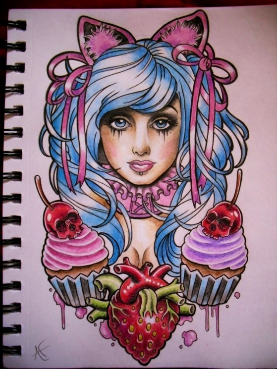 Zombie Pin Up Girl With Cupcake Tattoo Stencil