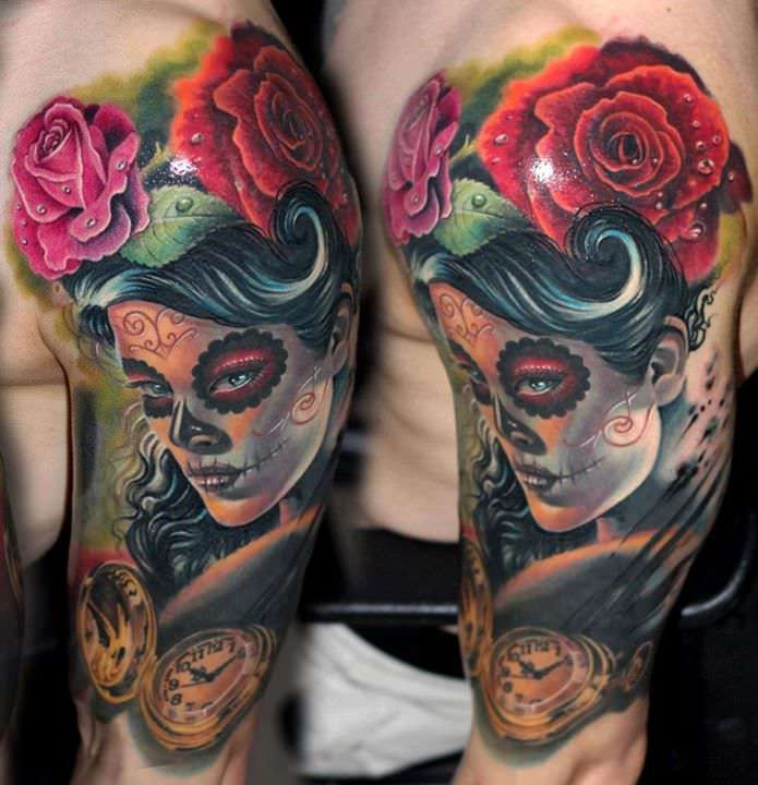 Zombie Pinup Color And Dog Portrait Tattoo