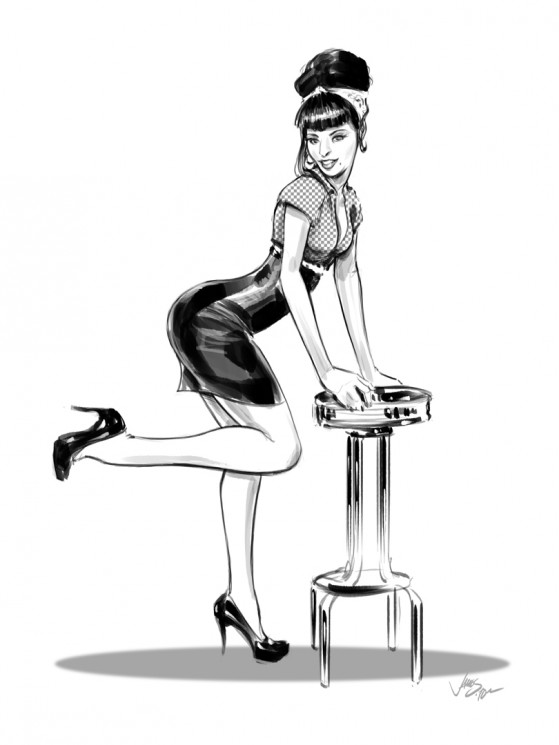 Pinup Girl Sitting In Front Of Truck On Arm
